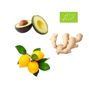 Økologisk avocado, øko citroner, øko ingefær