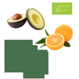 Avocadoer og appelsiner